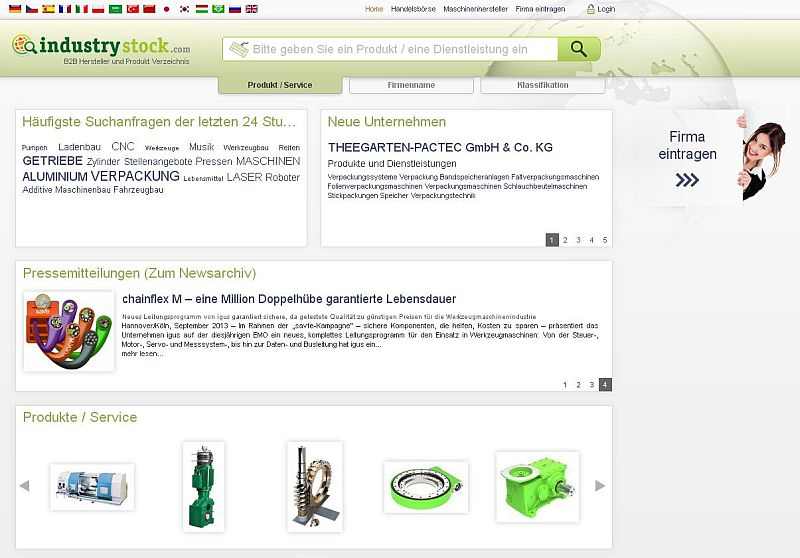 Screenshot Industriestock